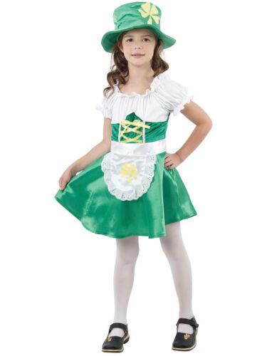Child Irish St Patricks Day Fun Green Leprechaun Girls Fancy Dress Kids Costume