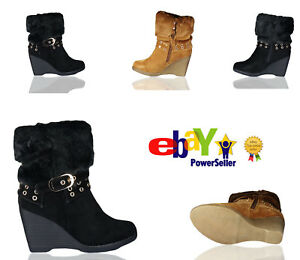 Ladies-Womens-Autumn-Winter-Fur-Buckle-Wedge-Sneakers-Boots-Shoes-High-Top-Size