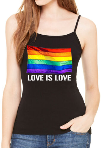 Women/'s Rainbow Flag Love Is Love Spaghetti Strap Tank Top LGBT Gay Pride V229