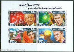 MALDIVES 2015 NOBEL PRIZE WINNERS MALALA YOUSAFZAI, AKASAKI, BETZIG & MOSER SHT