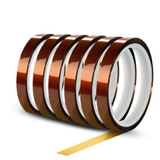 6 Rolls 10mm X 30m100ft High Temperature Heat Resistant Kapton Polyimide Tape