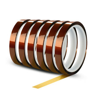 6-Rolls-10mm-X-30m-100ft-High-Temperature-Heat-Resistant-Kapton-Polyimide-Tape
