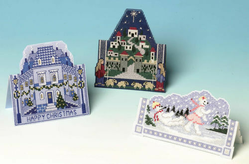 The Nutmeg Company Blue Christmas Cards 3D Counted Cross Stitch 3-in-1 Pack