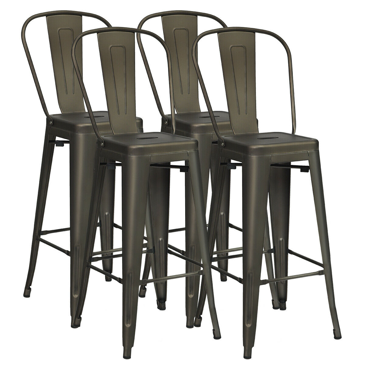 30 Metal Frame Tolix Style Bar Stools Industrial Chair With Back Set Of 4 For Sale Online Ebay