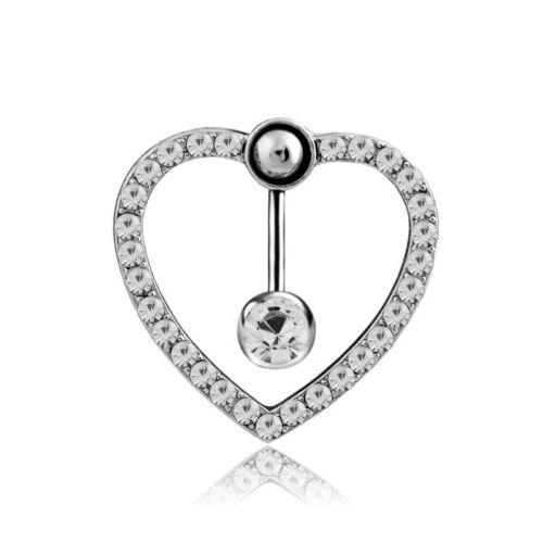 Designer shiny diamond Crystal heart shape Belly bar Body Piercing Navel ring