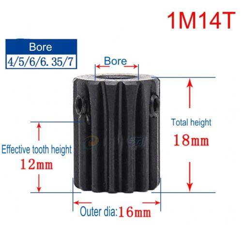 45# Steel Spur Motor Pinion Gear 1Mod 14T Outer Diameter 16mm Bore 5mm x 1Pcs