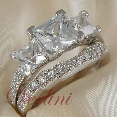 3.75 Ct Princess Cut Diamond Simulated Silver Ring Wedding Women's Set Size 5-10