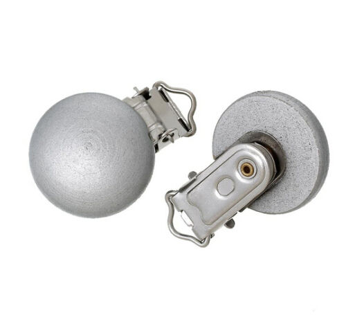 5 PCS Wooden Baby Pacifier Holder Clip Dyed Silvery Round 4.4cm x 2.9cm,
