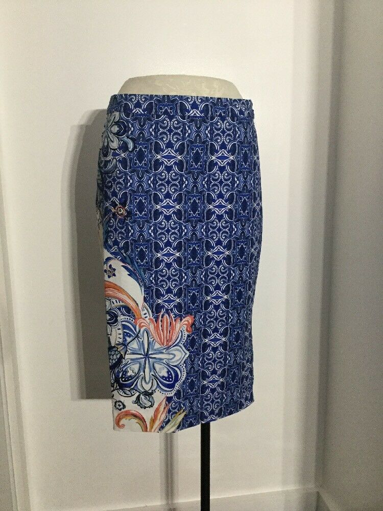 NEW Anthropologie Becancour Pencil Skirt bluee Floral Size 6 & 12