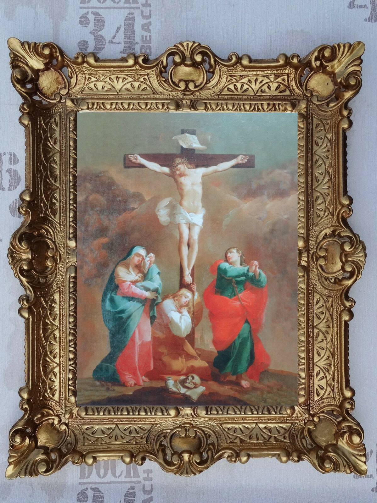 Gemälde Christus am Kreuz Maria Johannes Heiligenbild bild mit Rahmen 56x46 cm