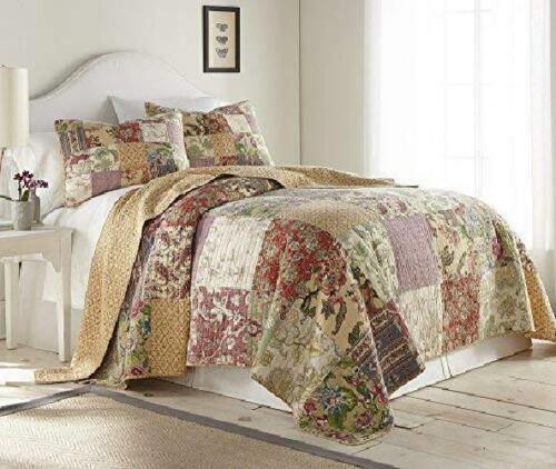Delaney 2Piece Floral Patchwork Vintage Washed 100/% Cotton Quilt Set Twin Queen