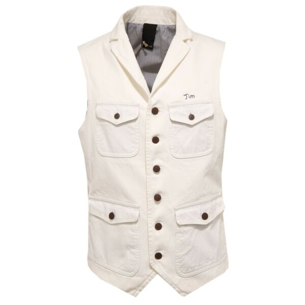 0224w Gilet Uomo (+) People Cotton White Vintage Effect Waistcoat Man