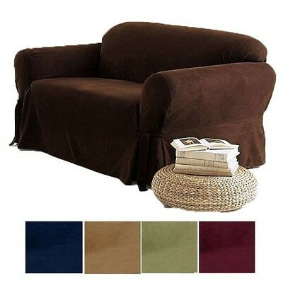 Stupendous 2 Pc Soft Micro Suede Couch Sofa Loveseat Slip Cover Brown Black Beige Sage New Ebay Pabps2019 Chair Design Images Pabps2019Com