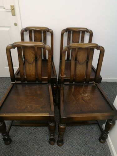 Set of 4 Ercol Chunky Dining Chairs Believe To Be 1930s Solid Wood