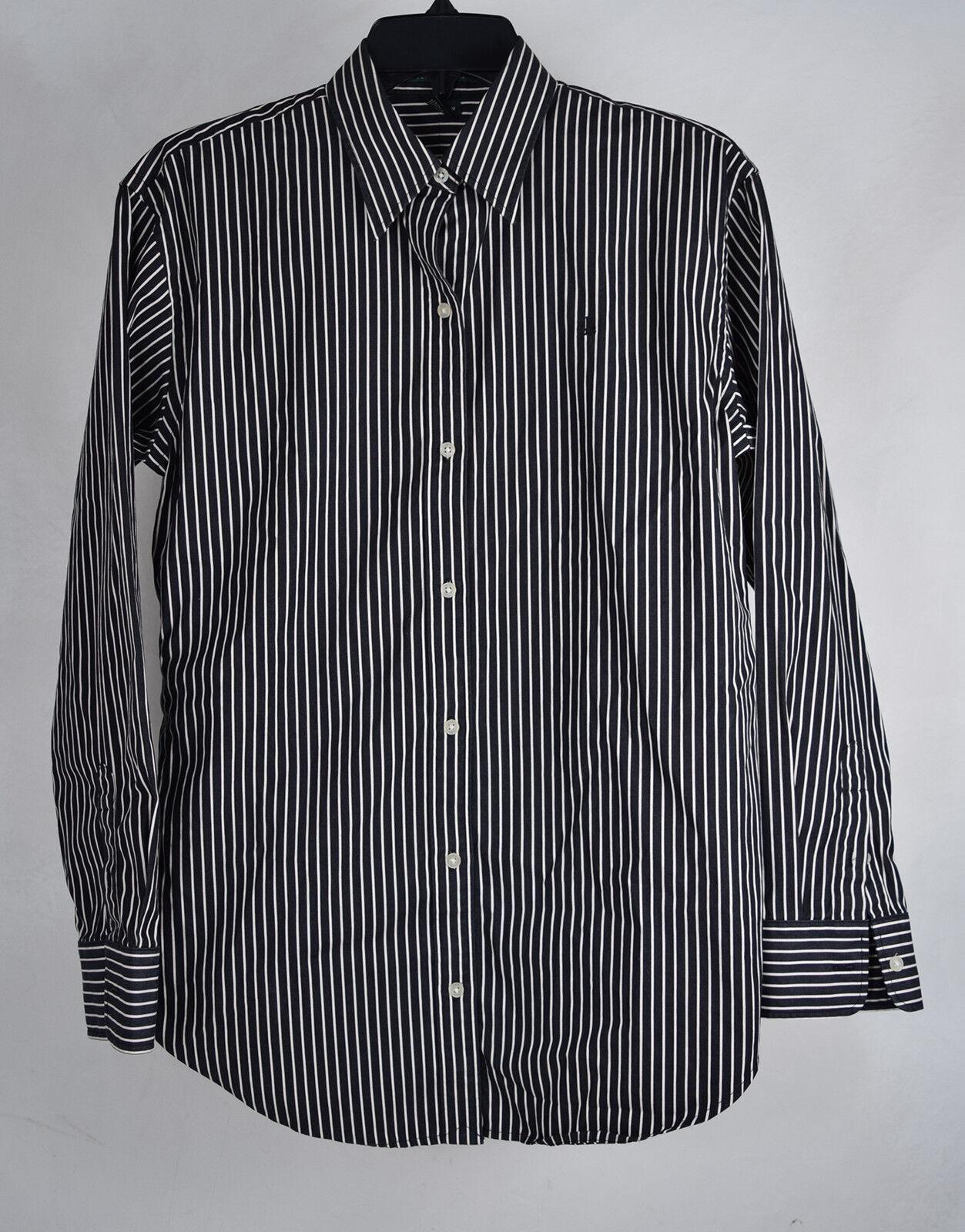 Lauren Ralph Lauren Dress Shirt Stripe schwarz Weiß LS Top M damen