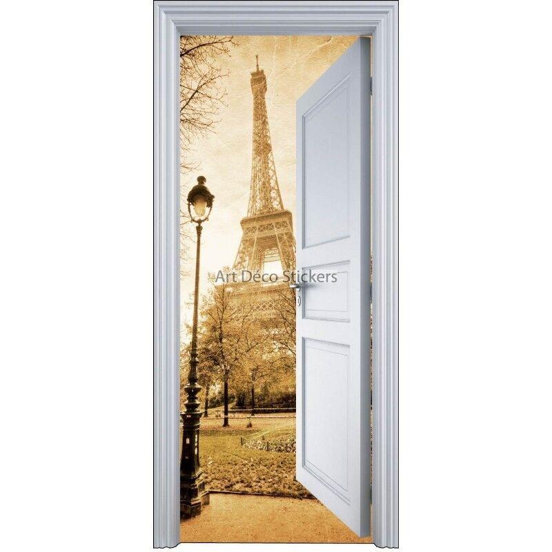 Adhesivo Puerta Trompa Trampantojo París Torre Eiffel 90x200cm 9103