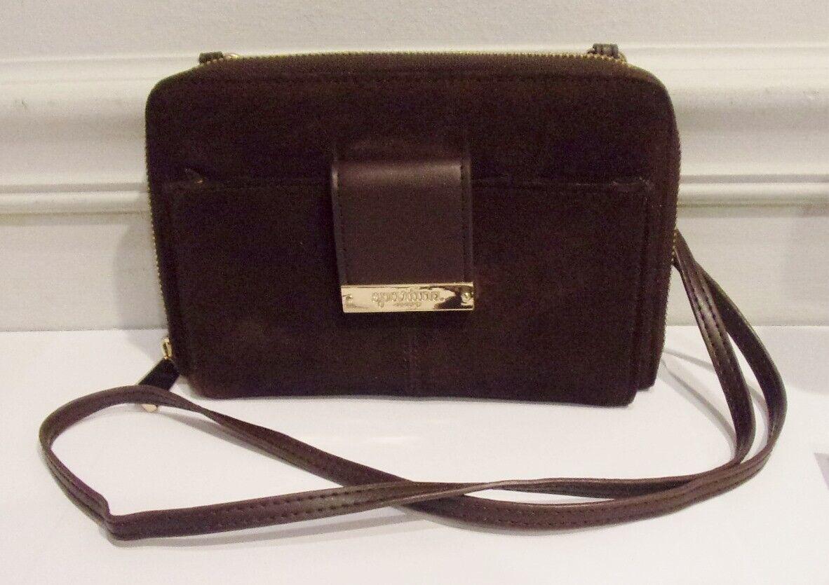 Spartina, Brown Suede Leather CB Organizer / Clutch, Detachable Strap, Handbag