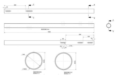 50x1040mm hart C Stärke 2mm Stahl schwarz Hohlachse Kart Hinterachse