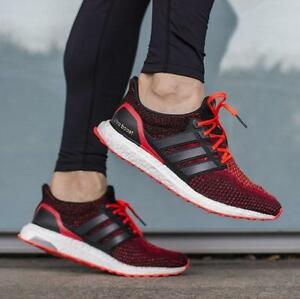 10b3ad6f9 ... low cost image is loading mens adidas ultra boost core black solar red  1c40e c24bc