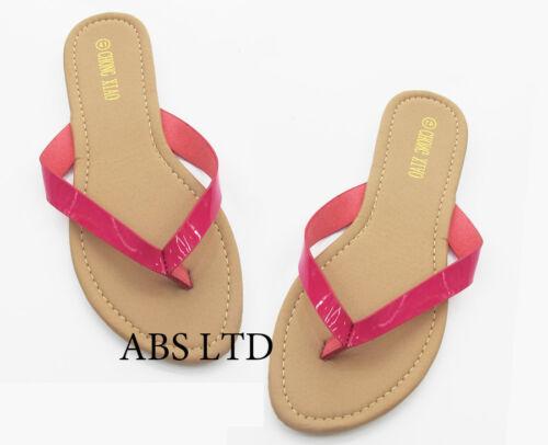 Ladies Women/'s Slip On Summer Toe Post Beach Flip Flops All Sizes