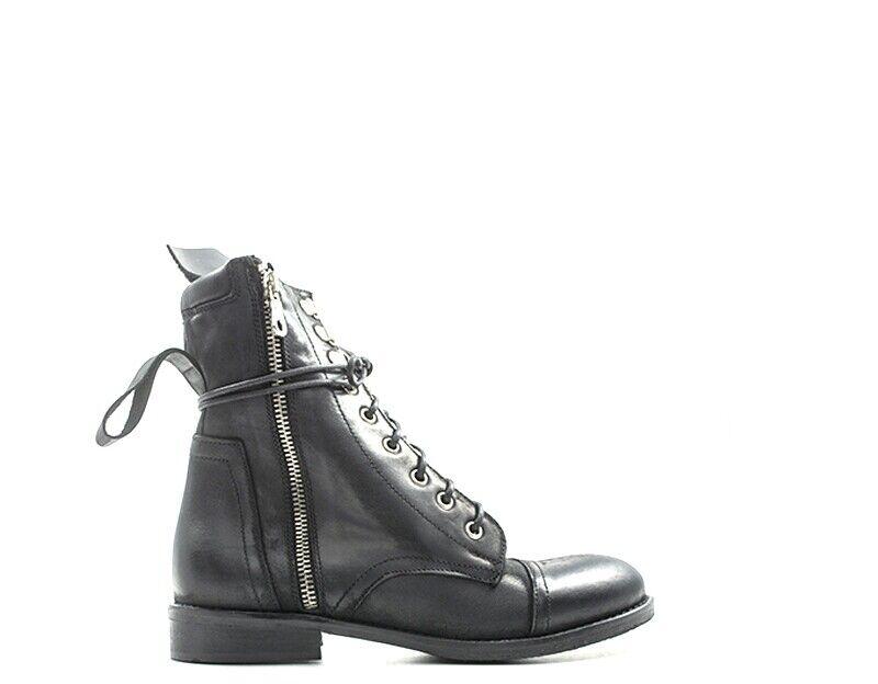 zapatos REBECCA VAN DIK Woman Lace up botas negro Natural leather KAROL04NAB-NE