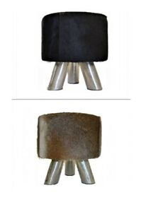 Sitting-Stool-From-Cowskin-Unique-Coat-Stools-With-Metal-Frame-Footrest-Stool