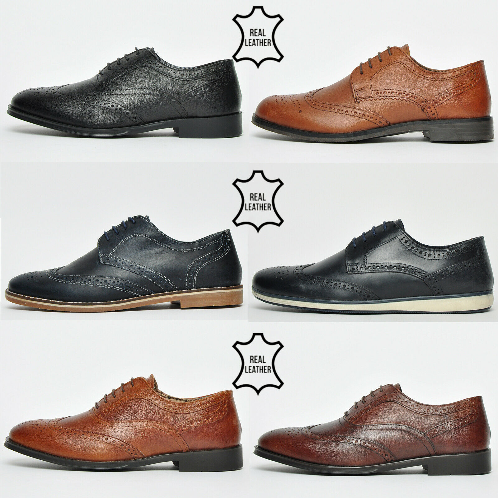Red Tape REAL LEATHER Men's Brogue Shoes From £9.99 RRP £54.99 @ eBay