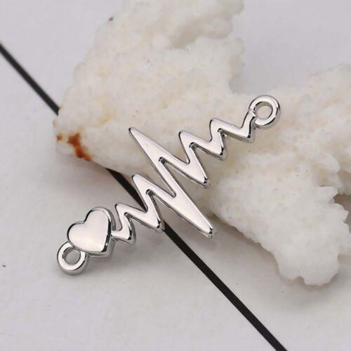 10 Stück Zinklegierung Verbinder Herzschlag Elektrokardiogramm Verbinder FL