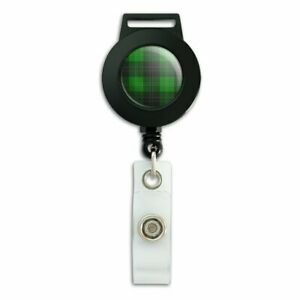 Plaid-Green-Gray-Grey-Pattern-Lanyard-Retractable-Reel-Badge-ID-Card-Holder