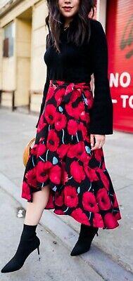 H/&M Trend Navy Floral Wrap Midi Dress 16 14 Bnwt