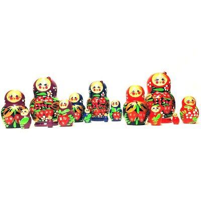 Matryoshka Strawberry Small Stacking Wooden Nesting Dolls Handmade New 1 set