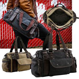 3c346b5691 Vintage Large Canvas Men s Travel Luggage Shoulder Bag Tote Gym ...