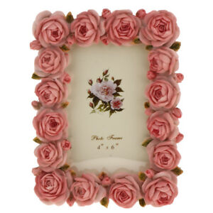 Retro-Resin-Rose-Flower-Home-Decor-Photo-Frame-Picture-Frame-Pink-4-039-039-x-6-039-039