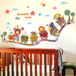 ANIMALS ON TRAIN Kids Removable Wall Sticker for Kids room or Nursery