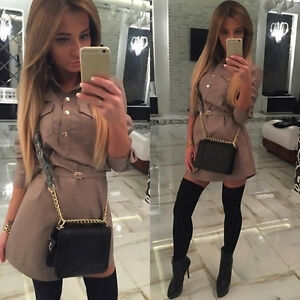 Women-039-s-Casual-Long-Sleeve-VNeck-Loose-Chiffon-Shirt-Top-Blouse-Mini-Dress-u