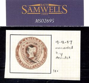MS2695* 1887 QV GB ADVERTISING RING Embossed Stationery 1.5d *W.H.Smith & Son*