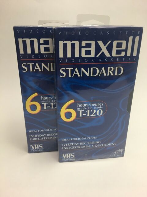 Lot of 2 New SEALED Maxell Standard Grade 6 Hours T-120 VHS Blank Tapes