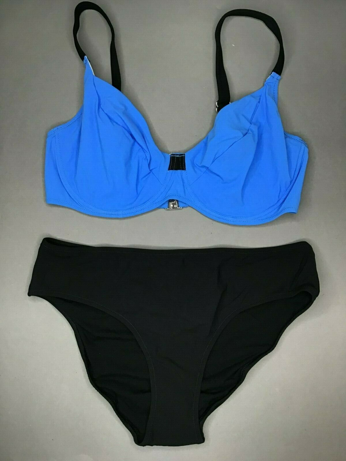 Jolidon Womens Bikini Set F2465 ungepolstert UNDERWIRED BLACK/BLUE NEW