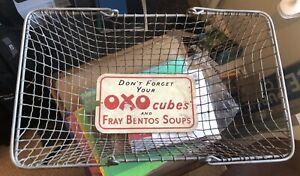 Lovely-Rare-Grocers-Basket-Advertising-Enamel-Tin-Sign-Oxo-Fray-Bentos