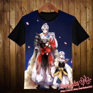 Hot-Anime-InuYasha-Casual-Short-Sleeve-Summer-Unisex-Black-T-shirt-Tops-Tee-51