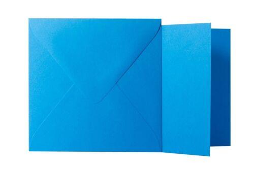 Klappkarten quadratisch Blau 11x11 cm // 10,5x10,5 cm 25x Briefumschläge