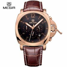 MEGIR 3006 Military Sports Chronograph Rose Gold Watch Leather Strap For Men