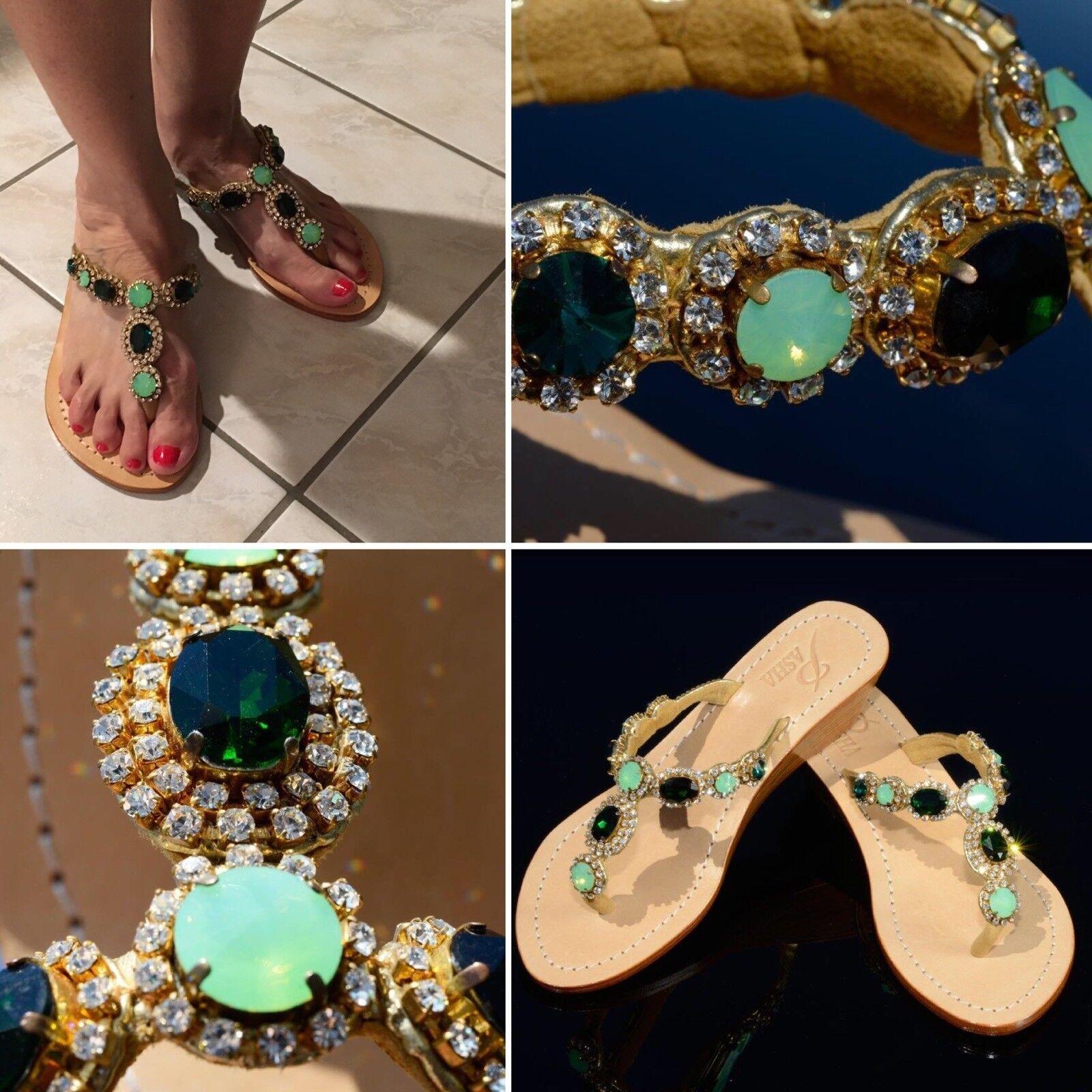 Zapatos Zapatos Zapatos de Cuero Genuino Joyas Hermosa Pasha, estilo Sao Paulo Esmeralda oro  connotación de lujo discreta