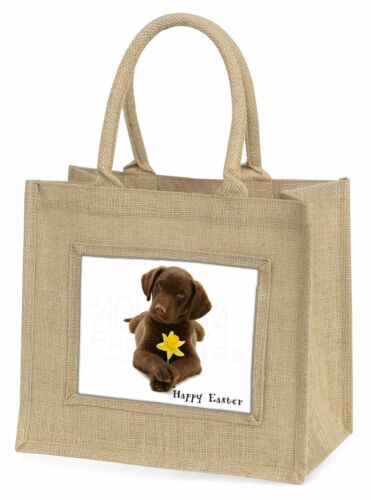 'Happy Easter' Labrador Large Natural Jute Shopping Bag Christmas , ADL53DA1BLN