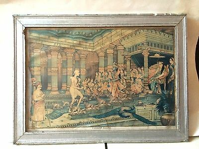 Hindu God Krishna and Sudama Sparkling Old Print Brijbasi and  sons Bombay