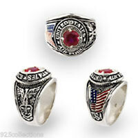 925 Silver July Ruby Color Birthstone Us Military Air Force Men Ring Size 11
