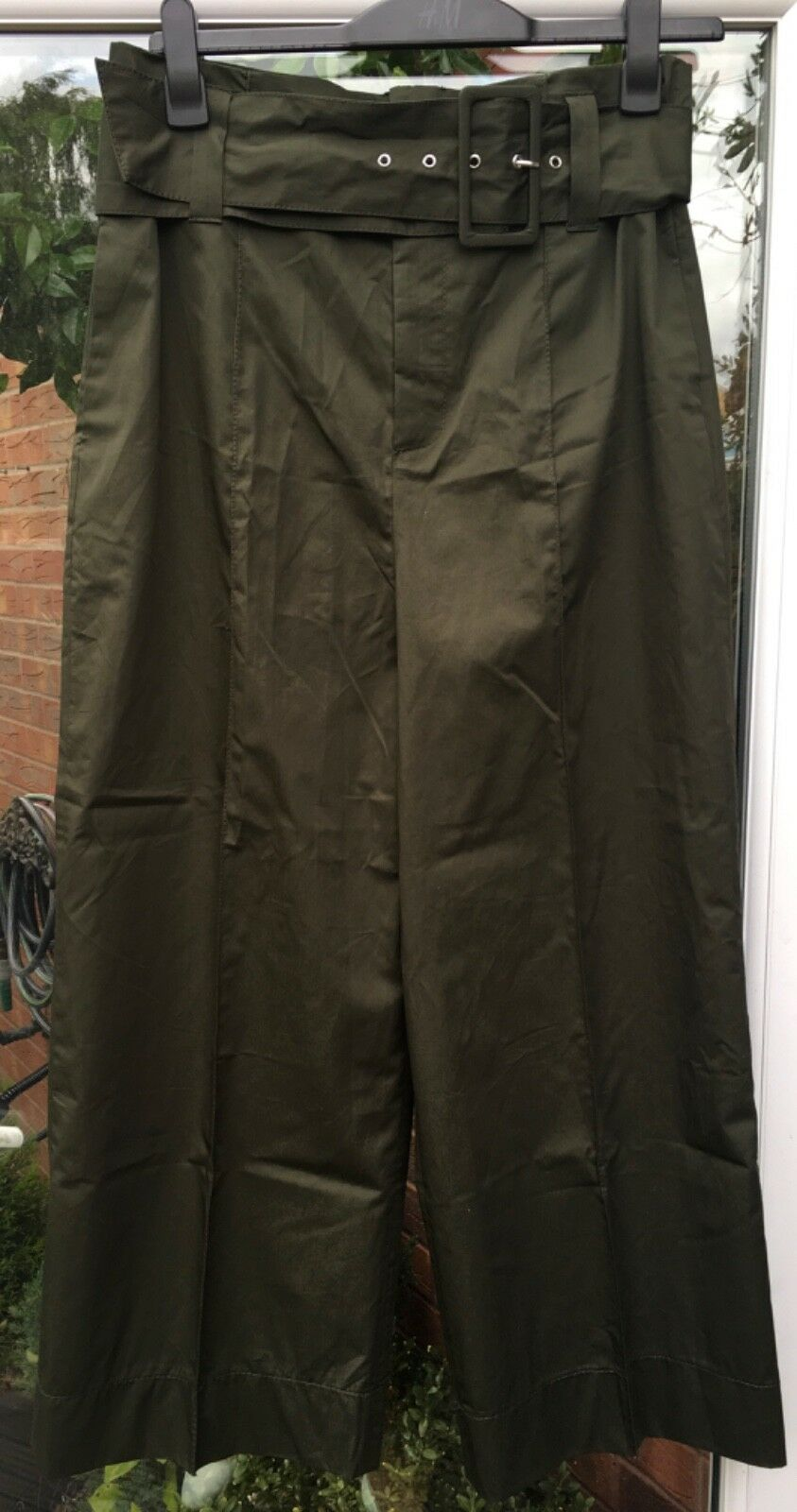 BNWT ZARA KHAKI GREEN COTTON POPLIN TROUSERS WITH BELT SIZE L S S 2018