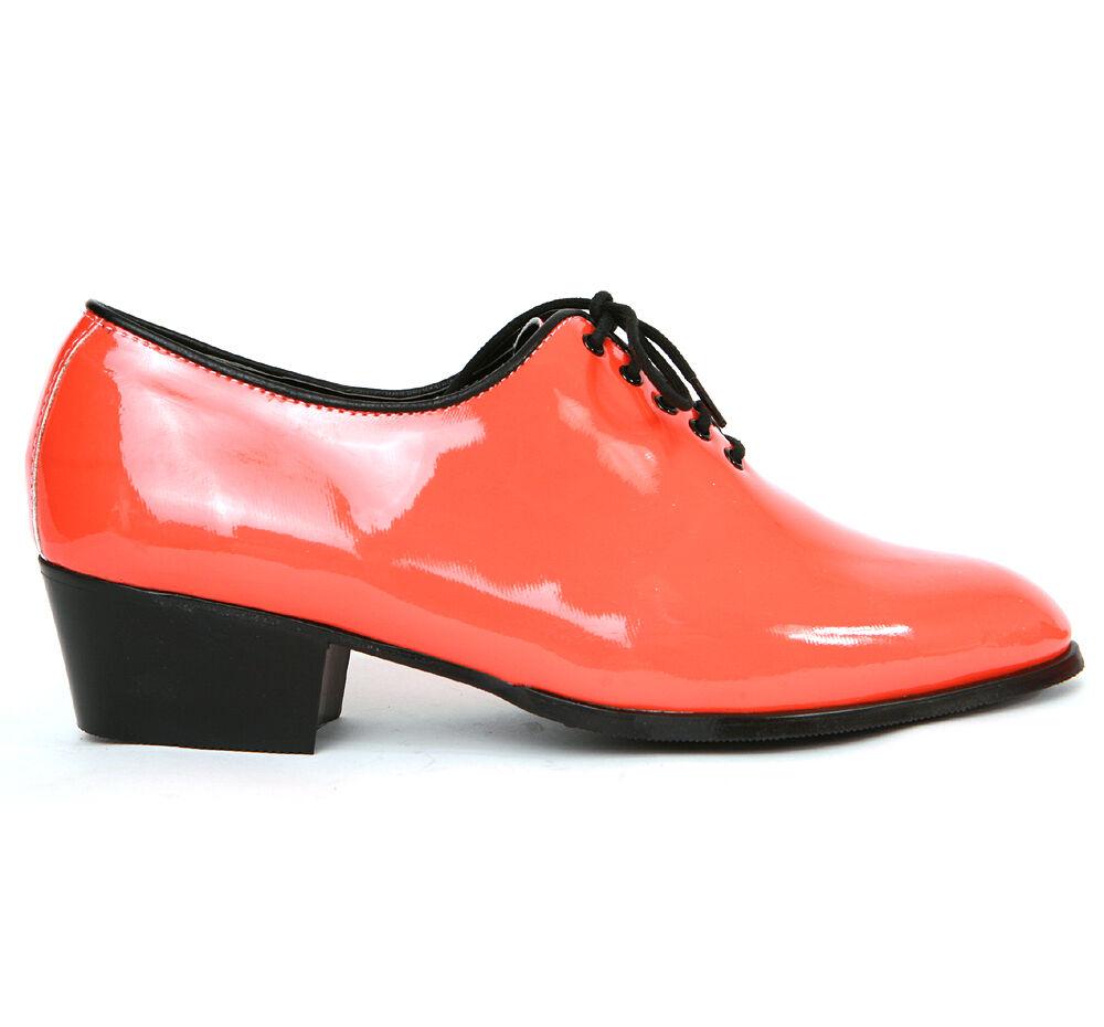 Men's glossy orange plain toe closed lacing hand made 1.77 heels dress shoes