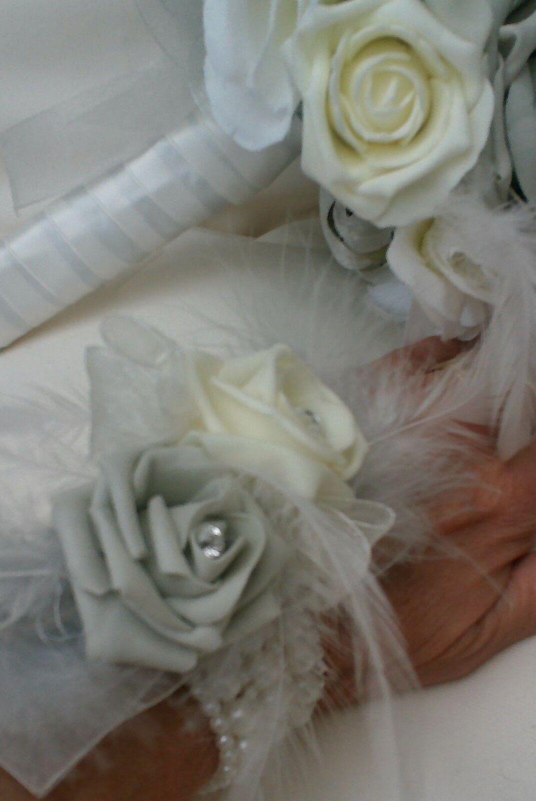 Avorio argentoo argentoo argentoo grigio rosaS Posy Bouquet Sposa Nozze Fiori Bouquet da Polso Piuma 78c32e