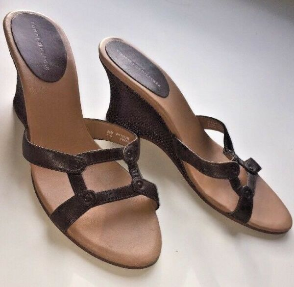 e9f14201b Hover to zoom · TOMMY HILFIGER Brown Leather Wedge Slides Sandals Ladies 39  Women s Size 8.5 I